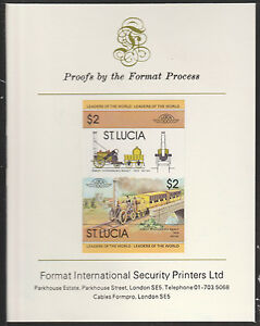 St Lucia (2011) Locomotives #1 Stephenson's Rocket imperf on Format PROOF CARD