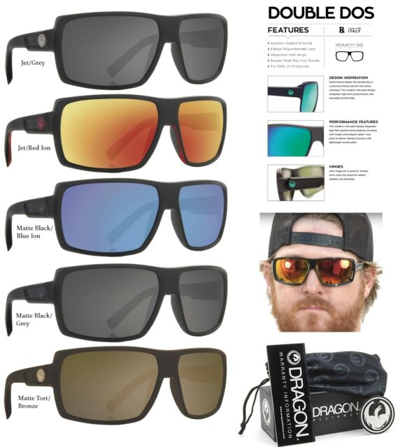 NEW Dragon Double Dos Mens Sport Wrap Square Sunglasses Msrp$120