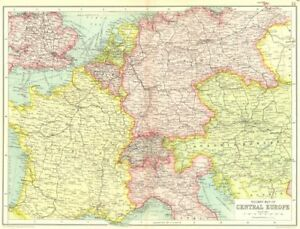 Map Of Germany And Hungary.Central Europe Railways France Germany Austria Hungary Switzerland