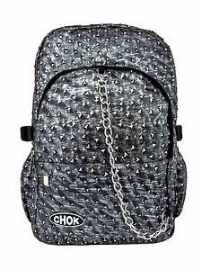 CHOK-RUSTIC-GREY-TRIANGLE-STUD-3D-BACKPACK-RUCKSACK-Punk-Goth-Laptop-School-Bag