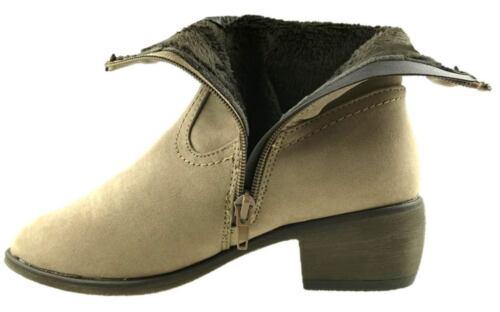 Mesdames Micro Daim Cowboy Cheville Bottes à l/'Intérieur Fermeture Éclair Doublé de Fourrure Taille UK 3-8