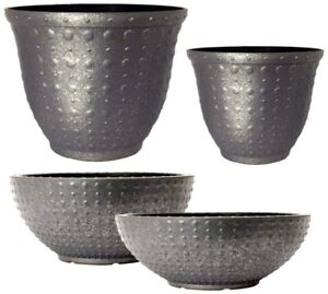 Galvanised Hobnail Small Large Plant Pots Round Plastic Planters Outdoor Garden Ebay