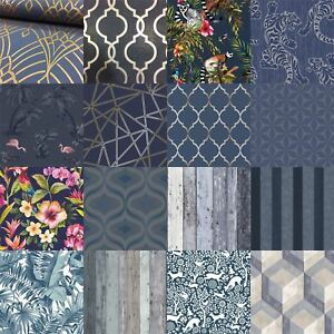 Image Is Loading Mixed Range Of Blue Amp Navy Wallpaper Various