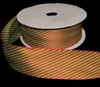 6 Yards Christmas Grinch Green Red Stripe Striped Woven Jacquard Soft Ribbon 1 1