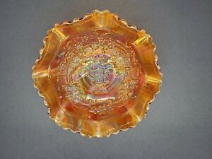 Vintage Imperial Marigold Carnival Glass Windmill Ruffled Scalloped Edge Bowl
