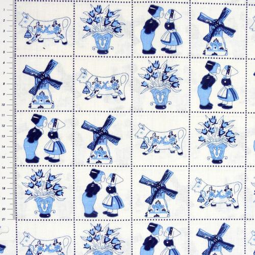 Baumwollstoff Holländisch Windmühle weiß blau 1,4m Breite