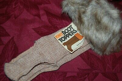 Boot Toppers Nwt Vintage Tan/brown/gray Faux Fur Knit O/s Special Summer Sale