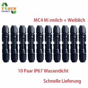10-Paar-MC4-Solar-Stecker-PV-Sonnenkollektor-Wasserdichtes-IP67-Wechselrichter