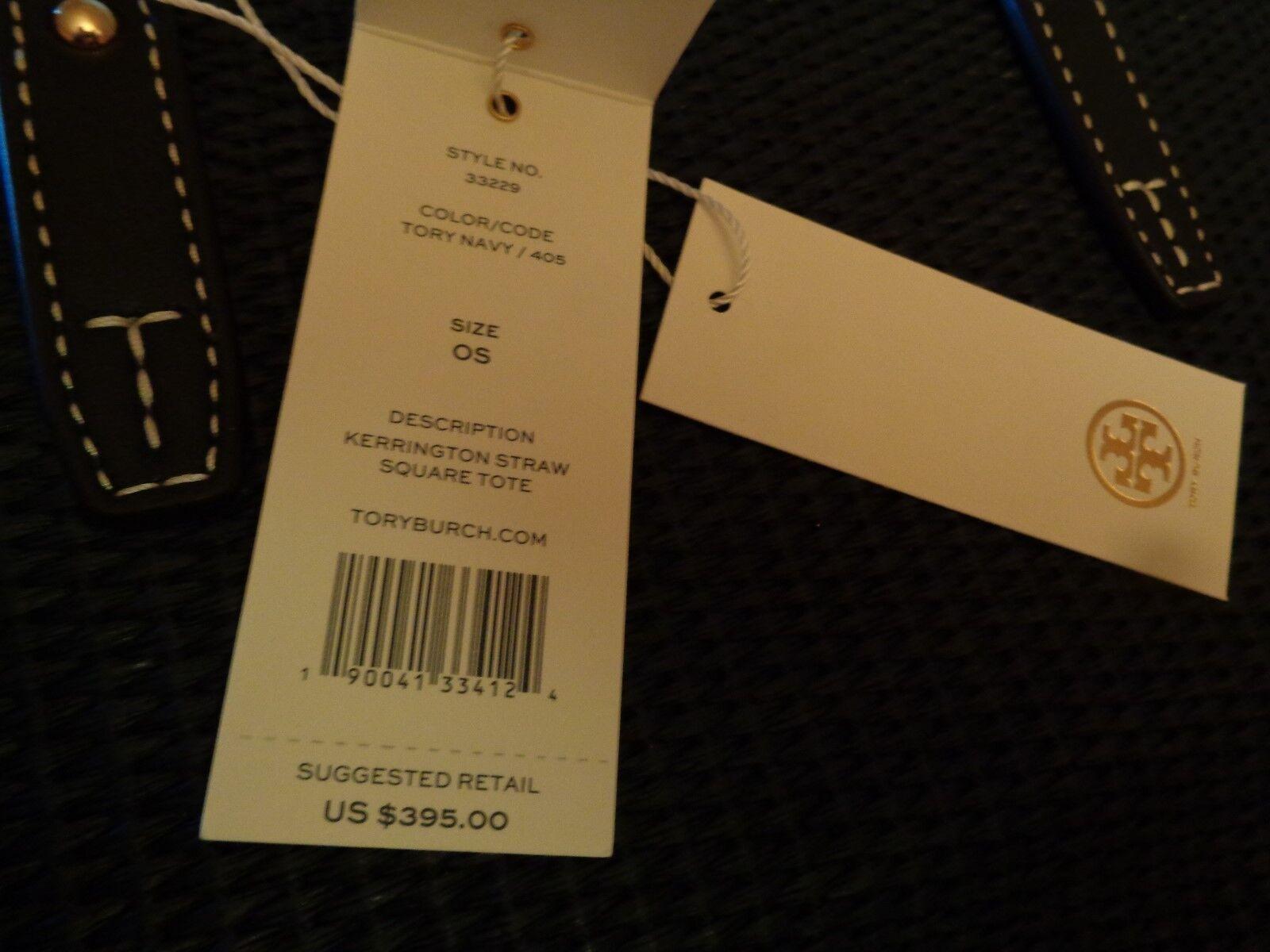 208c26d8d2c1 Auth Tory Burch Kerrington Square Straw Navy Tote Purse Bag for sale online