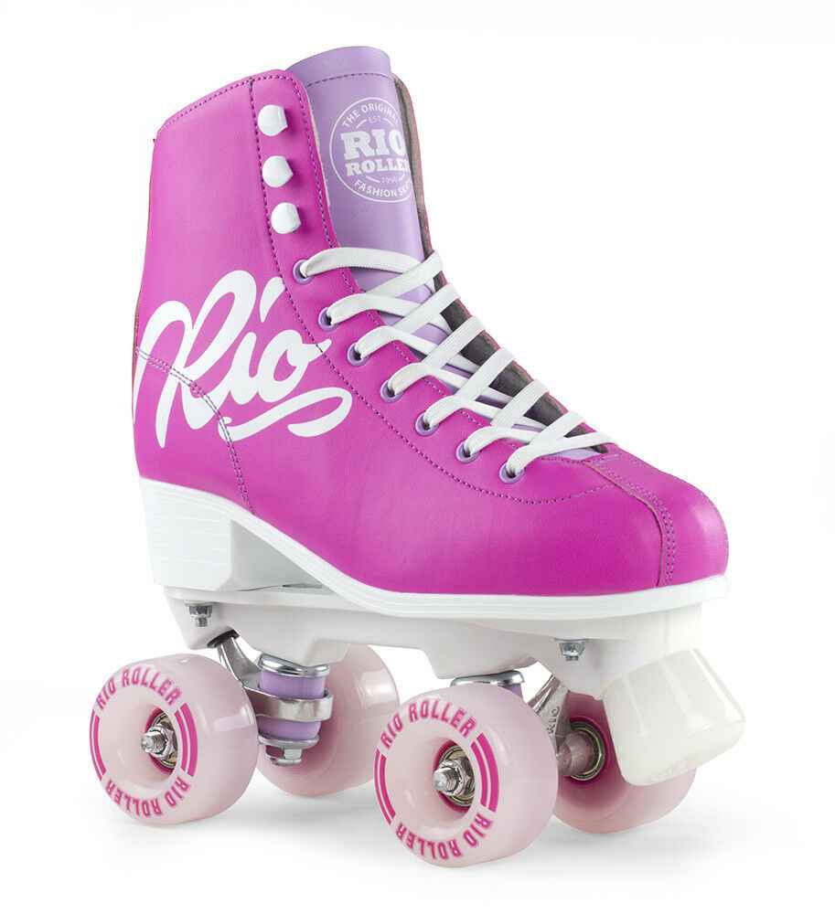 Rio Roller - Script Erwachsene Skates - Rosa/Flieder - Quad Rollschuhe