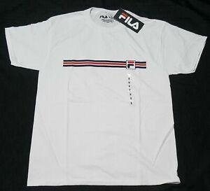 Details about FILA Men's T-shirt - Stripes Logo- Active Sports Apparel-