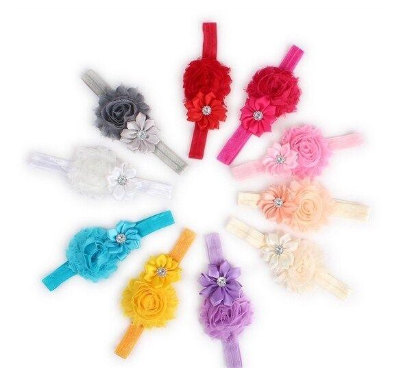 BABY Haarband SHABBY FLOWER - 10 verschiedene Farben zur Wahl