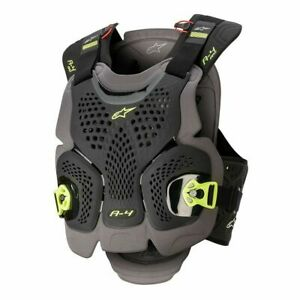 ALPINESTARS A4 MAX CHEST PROTECTOR BLACK ANTHRACITE YELLOW ADULT BODY ARMOUR MX