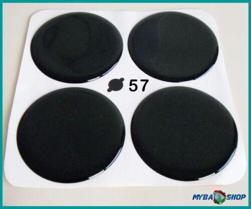 NERA IN SILICONE ADESIVO ∅= 57mm per COPRIMOZZO emblemi adesivi x4 NUOVO