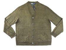 $185 Polo Ralph Lauren V neck 100% Linen Button Down Sweater Cardigan Jacket M