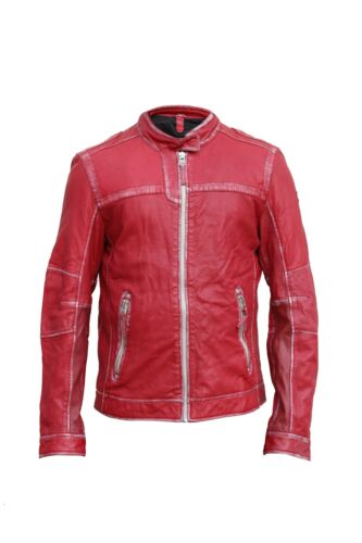 Men Fuji-Red Sheep Leather  Slim Fit Biker Jacket Casual Outwear LCM17