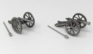 Vintage-Semi-Flats-Toy-Soldiers-45mm-Franco-Prussian-War-Cannons-x-2-Schneider