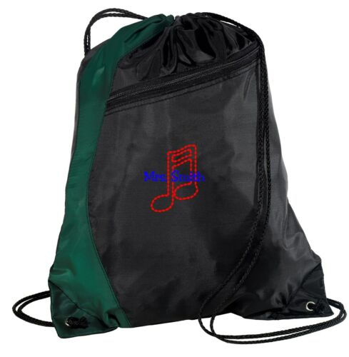 Personalized Music Note Embroidered Drawstring Colorblock Cinch Pack Backpack