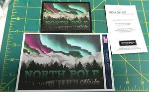 North Pole Alaska Patch by Lantern Press  Beautifl Aurora over Mountains scene