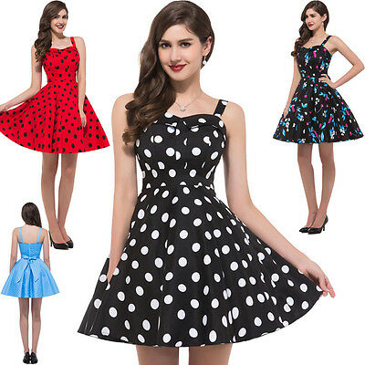 New Vintage Style Polka Dot Retro Swing 50s 60s pinup Housewife Dress