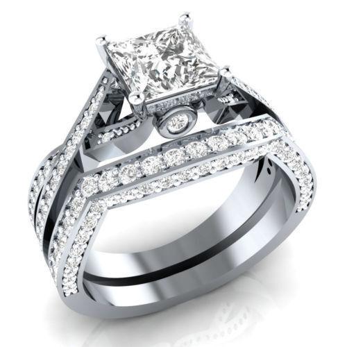 Certified 3.00Ct White Princess Cut Diamond Wedding Ring Set 14k White Gold Fn