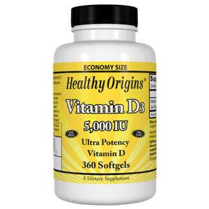 Healthy Origins Vitamin D3, 5000iu x 360 Softgels D-3 5,000IU