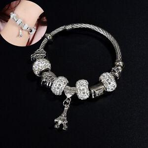 Charm-Women-Stainless-Steel-Jewelry-Bracelet-Bangle-Rhinestone-Bead-Eiffel-Tower