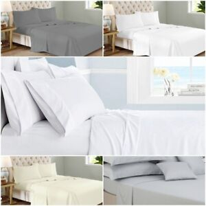 Luxe Blanc 100/% Coton Égyptien Linge de lit 400 fils au pouce