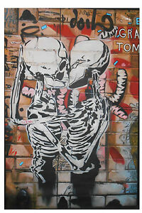 street-art-australia-painting-custom-kissing-skeletons-120cm-x80cm-not-a-print