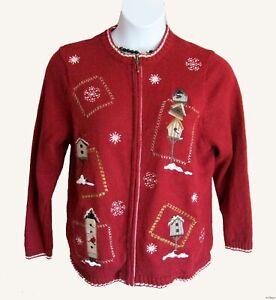 NEW Christmas Sweater Plus Size 1X 16W 18W Cardigan Zip Front Winter Snowflake