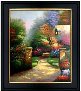 Framed-Quality-Hand-Painted-Oil-Painting-Hidden-Cottage-20x24in