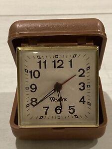 Vintage-Portable-Foldable-Westclox-Clock-Wind-Up-Alarm-Brown-Travel-Plastic-Case