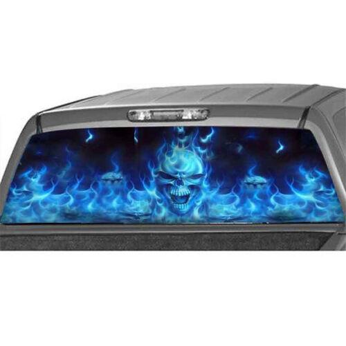 Rear Window Flaming Skull Cool Sticker Rear Window Sticker for Truck SUV Jeep