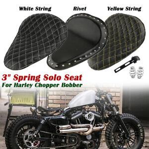 Diamond-3-039-039-Solo-Sitz-Motorrad-Sattel-Schwarz-PU-Leder-fuer-Harley-Bobber-Chopper