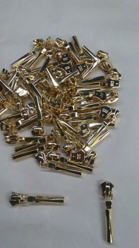 Lot of 5 Sliders G2 #5  Metal GOLD Long Tab Slider Gilt  Zipper Pull