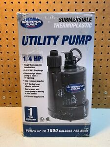 Superior Pump 91250 1//4 HP Thermoplastic Submersible Utility Pump with 10-Foo...