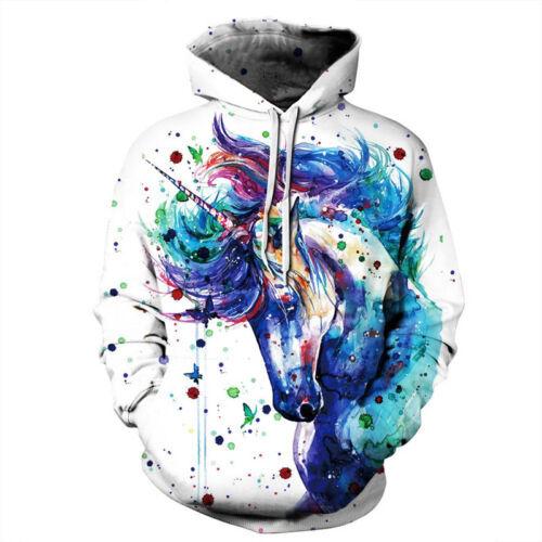 Paar Damen Herren Partnerlook Kapuzen Pullover Hoodie Sweatshirt Pulli 3D Grafik