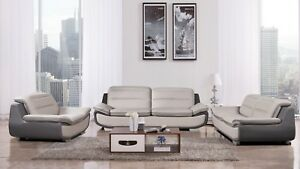 Outstanding Details About 3 Pc Modern Light Gray Dark Gray Leather Sofa Loveseat Chair Living Room Set Alphanode Cool Chair Designs And Ideas Alphanodeonline
