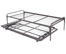 Twin Size Dark Black Metal Day Bed (Daybed) Frame & Pop Up Trundle