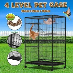 4-Level-140cm-Pet-Cage-House-Cat-Hamster-Rat-Budgie-Bird-Parrot-Aviary-On-Wheels
