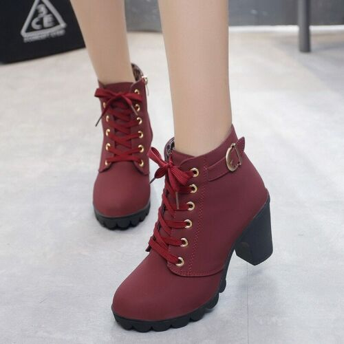 Ankle boots women 2019 new elegant square heel shoes woman high heel solid