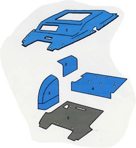 Ford-Worldwide-Q-Cab-4-amp-6-Cyl-Flat-Deck-Trim-Kit-Blue-Sound-Proofing-Vinyl-Foam