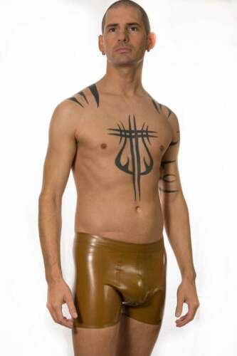 Latex Catsuit Rubber Gummi Brown Slim Fit Short Pants Front Hole Customized .4mm