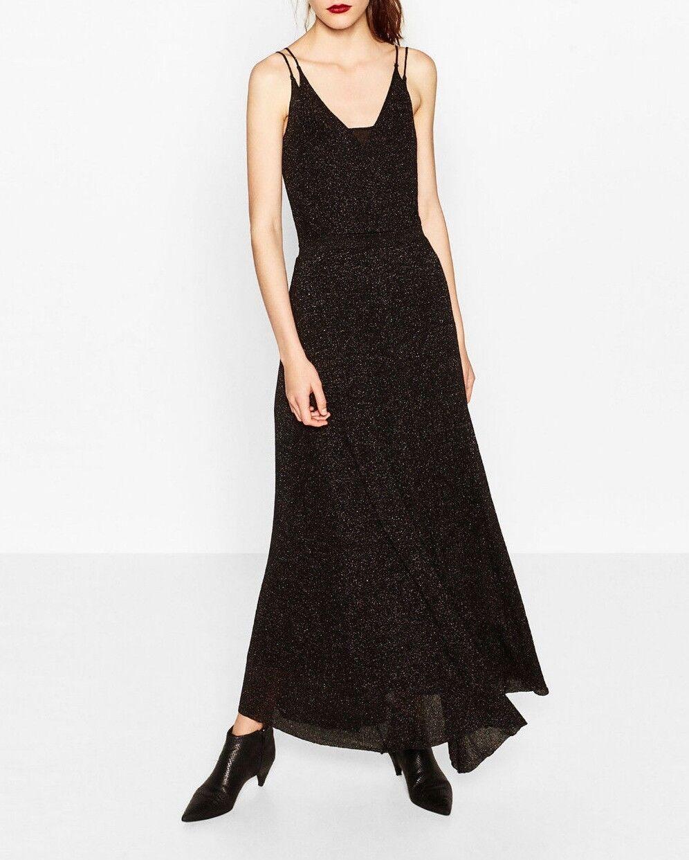24324566d9e2 Zara nero oro Premium Maxi Vestito Abito a Maglia Strappy knited Dress Long  SHIMMERY nnoucf7054-Vestiti