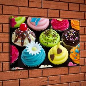 12 X20 Cupcake Colorful Shapes Painting Hd Print On Canvas Home Decor Wall Art Ebay