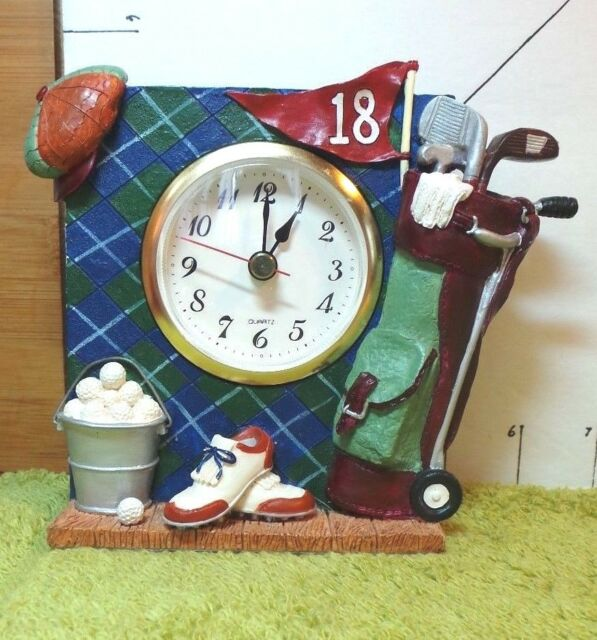Golf Clock,Sports,Resin Clock,Clever Details, Works Well, Collectible Home Decor
