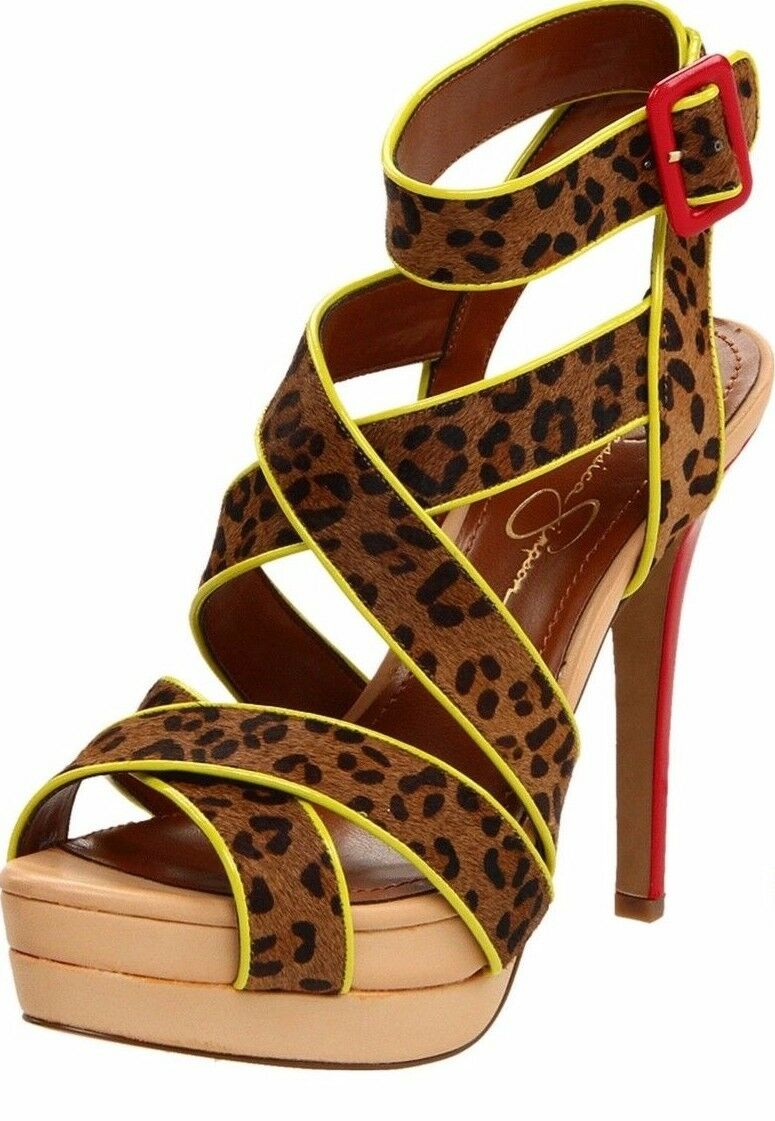 Jessica Simpson EVANGELA Brown Cheetah Calf Hair Strappy Platform Sandal -  110