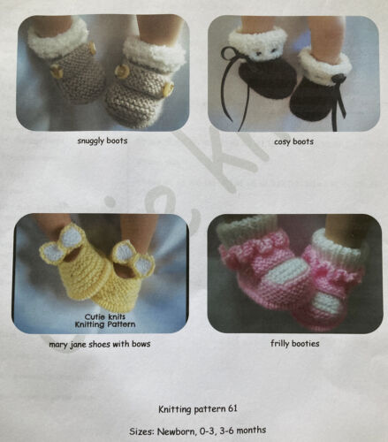 Bébé Chaussons /& Chaussures Knitting Patterns Tailles 0-6 mois