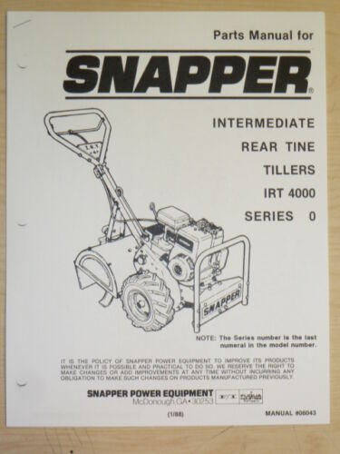 1//1988 SNAPPER REAR TINE TILLERS IRT 4000 SERIES 0 MANUAL # 06043