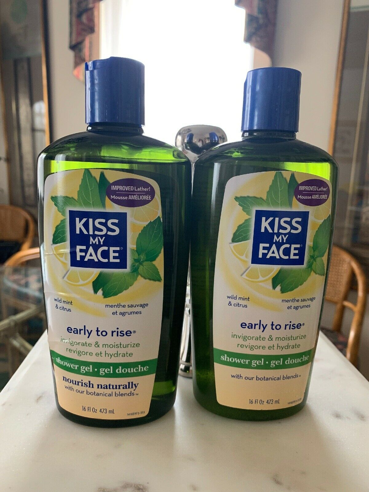 Lot Of 2 Kiss My Face Early to Rise Shower Gel Wild Mint and Citrus 16oz Bottle